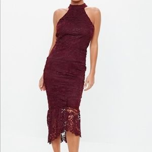 Miss guided Burgundy Lace Hi-Low Halter Dress
